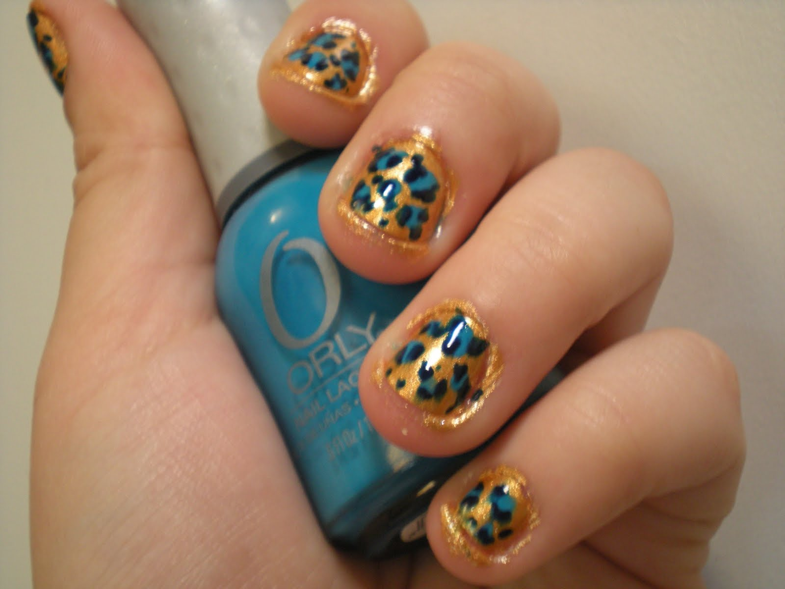 The Nail Adventure: Gold and Blue Leopard Nails