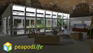 Peapod Life Rooftop Garden with Indoor Ecosystem, image rendering by wobuilt.com