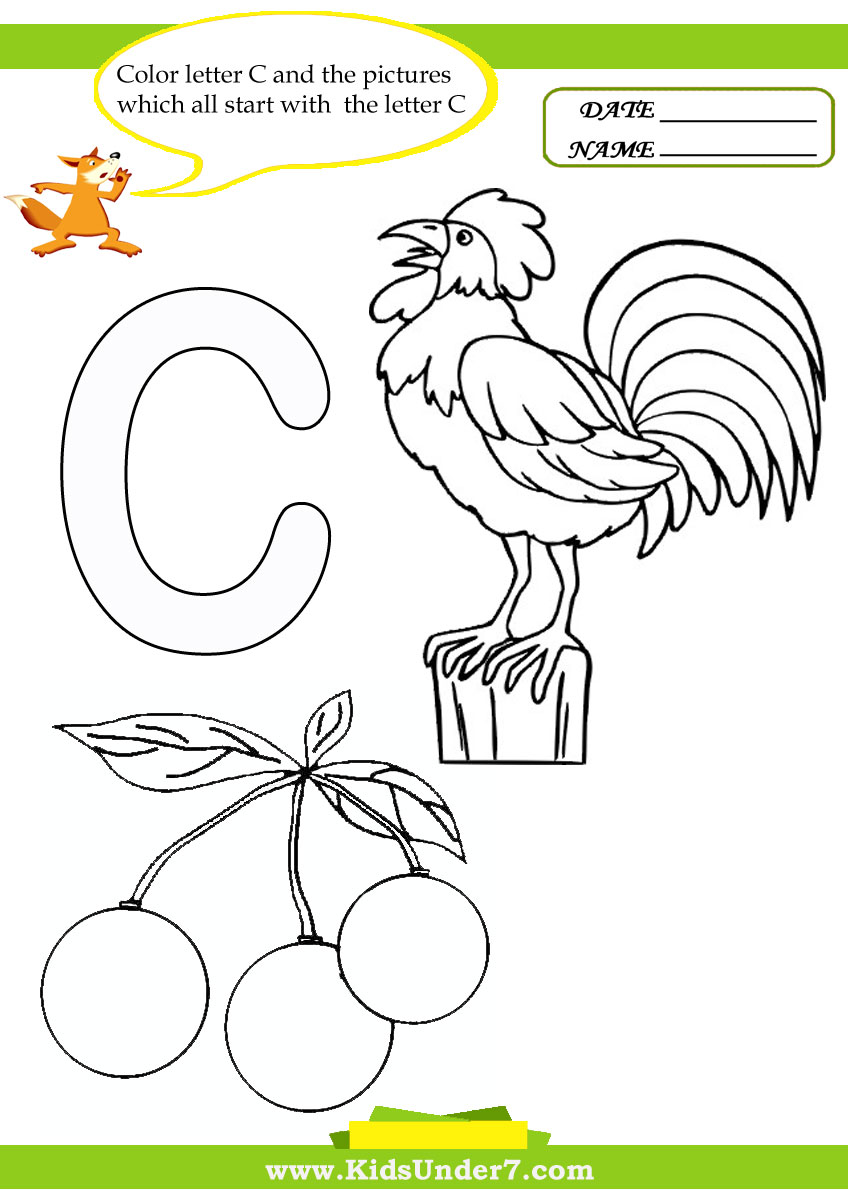 Kids Under  Letter  Worksheets And Coloring Pages