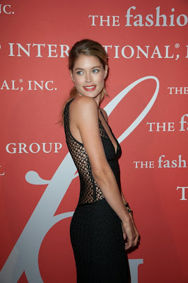 Victoria's Secret model Doutzen Kroes in a see-through black gown dress at 30th Annual Night Of Stars Galaxy