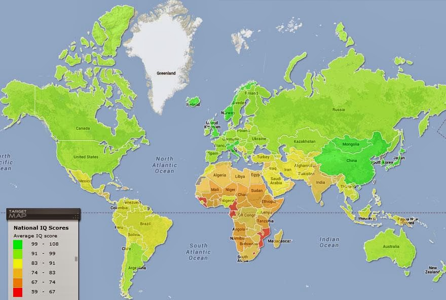 FUNNY MAP SHOWING IQ RATE OF EACH COUNTRY