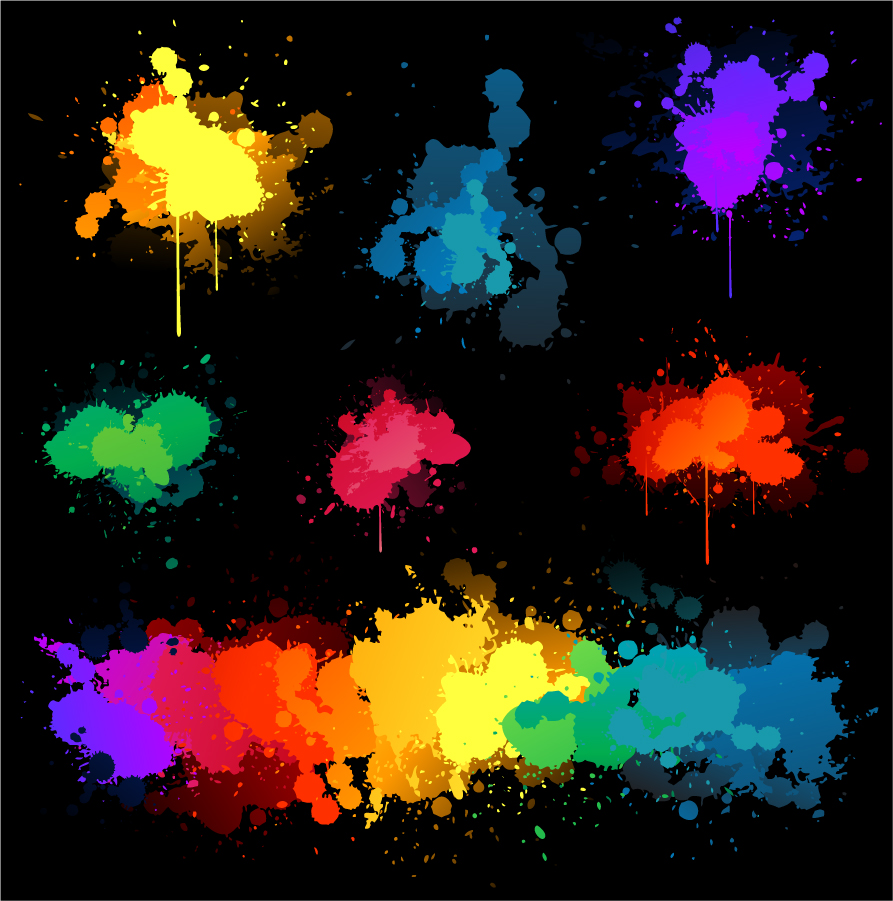 黒い背景に各色の染み Colored Blots On The Black Background イラスト素材
