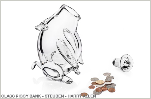 GLASS PIGGY BANK - STEUBEN - HARRY ALLEN