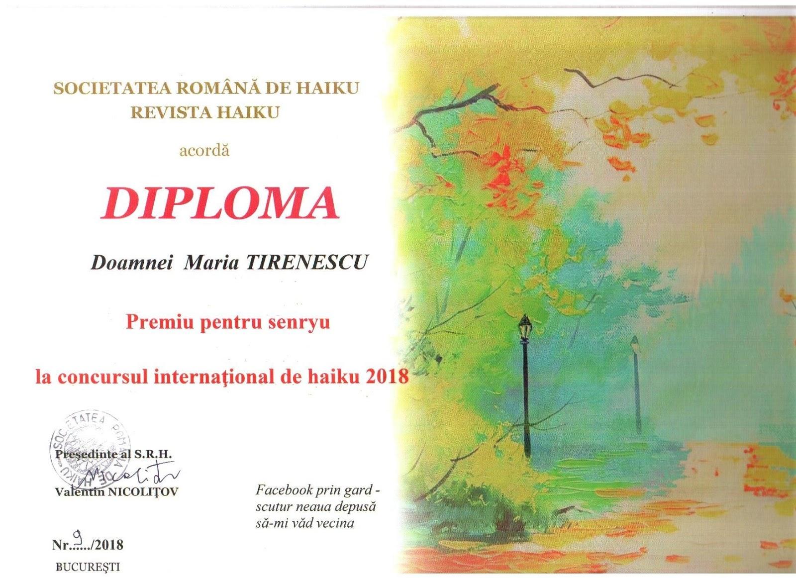 Diplomă Senryu, 2018