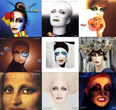 Lady Gaga Applause Album Cover Surrounded by Mina Album Covers
