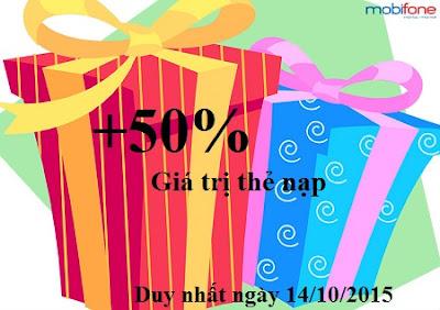 Ưu đãi 50% giá trị thẻ nạp Mobifone ngày 14/10