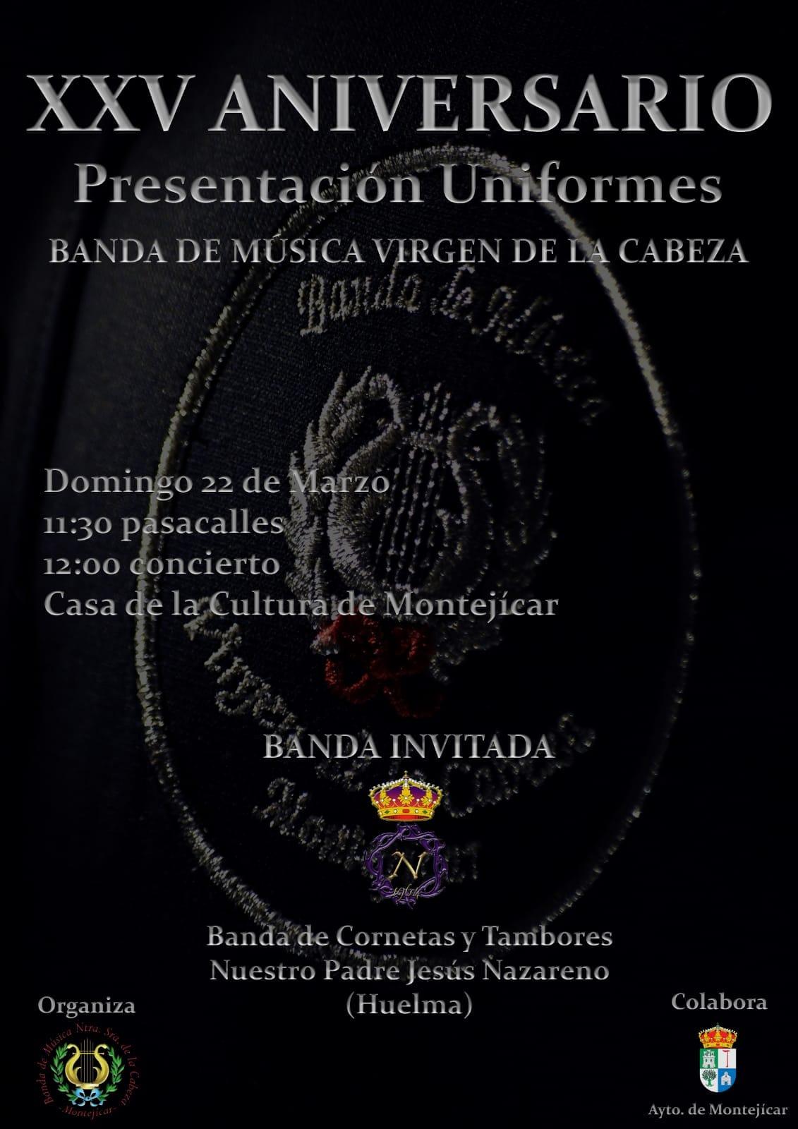 DOMINGO 22 MARZO 2020. XXV ANVERSARIO BANDA MÚSICA VIRGEN DE LA CABEZA DE MONTEJICAR