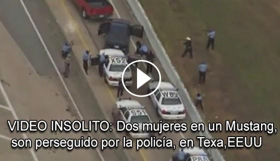 VIDEO INSOLITO: Dos mujeres en un Mustang, son perseguido por la policia, en la carretera de Texa,EEUU