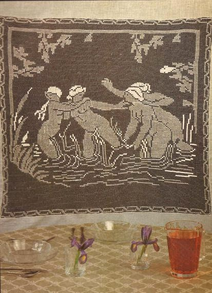 "Panel Decorativo ""Las Bañistas"" a Crochet"