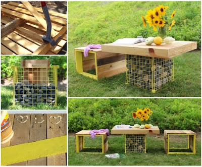 DIY Pallet Wood Bench & Gabion Table
