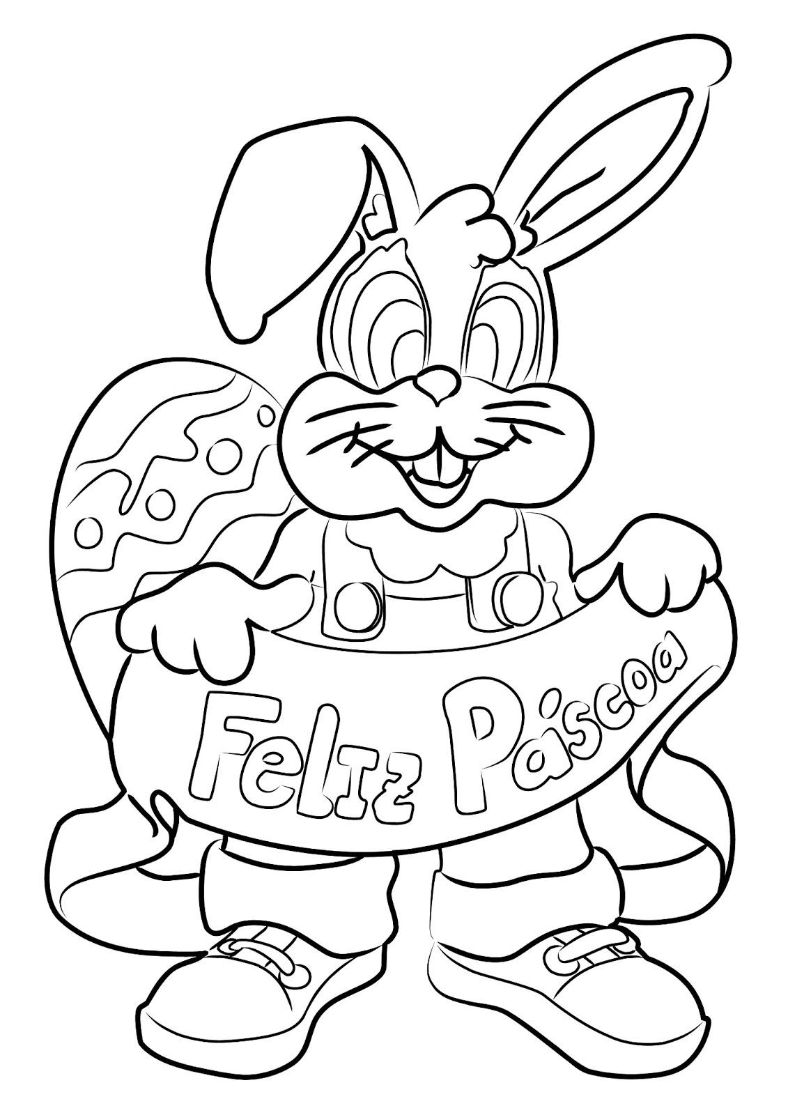 colorir desenhos Coelhos da Páscoa