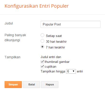 Setelan widget popular post