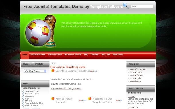 Soccer Red Green Clean Free Joomla Theme Template