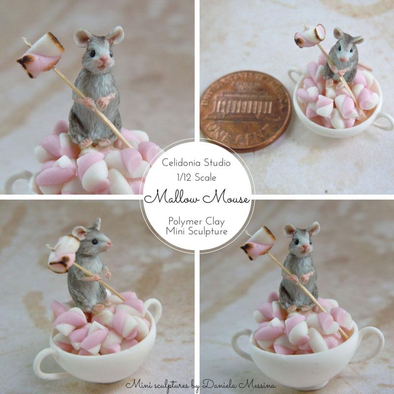 Topino sui Marshmallows - Mini Scultura in Pasta Sintetica di Daniela Messina