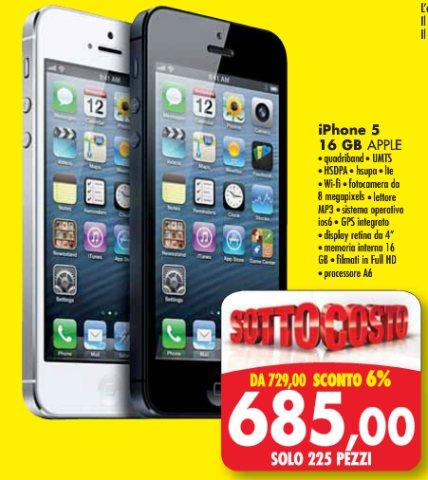 L'ultimo smartphone iPhone 5 di apple è in vendita sottocosto con un buon risparmio nel volantino Emisfero