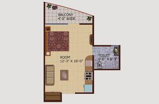 Ceyane Tower :: Floor Plans,Type B:- Studio1 Bedroom, 1 Toilet, Kitchen, Drawing, 1 Balconies Super Area - 575 Sq Ft