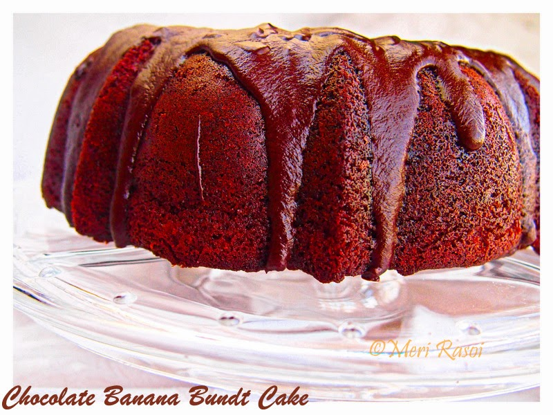 Meri Rasoi: Chocolate Banana Bundt Cake topped with Chocolate Ganache