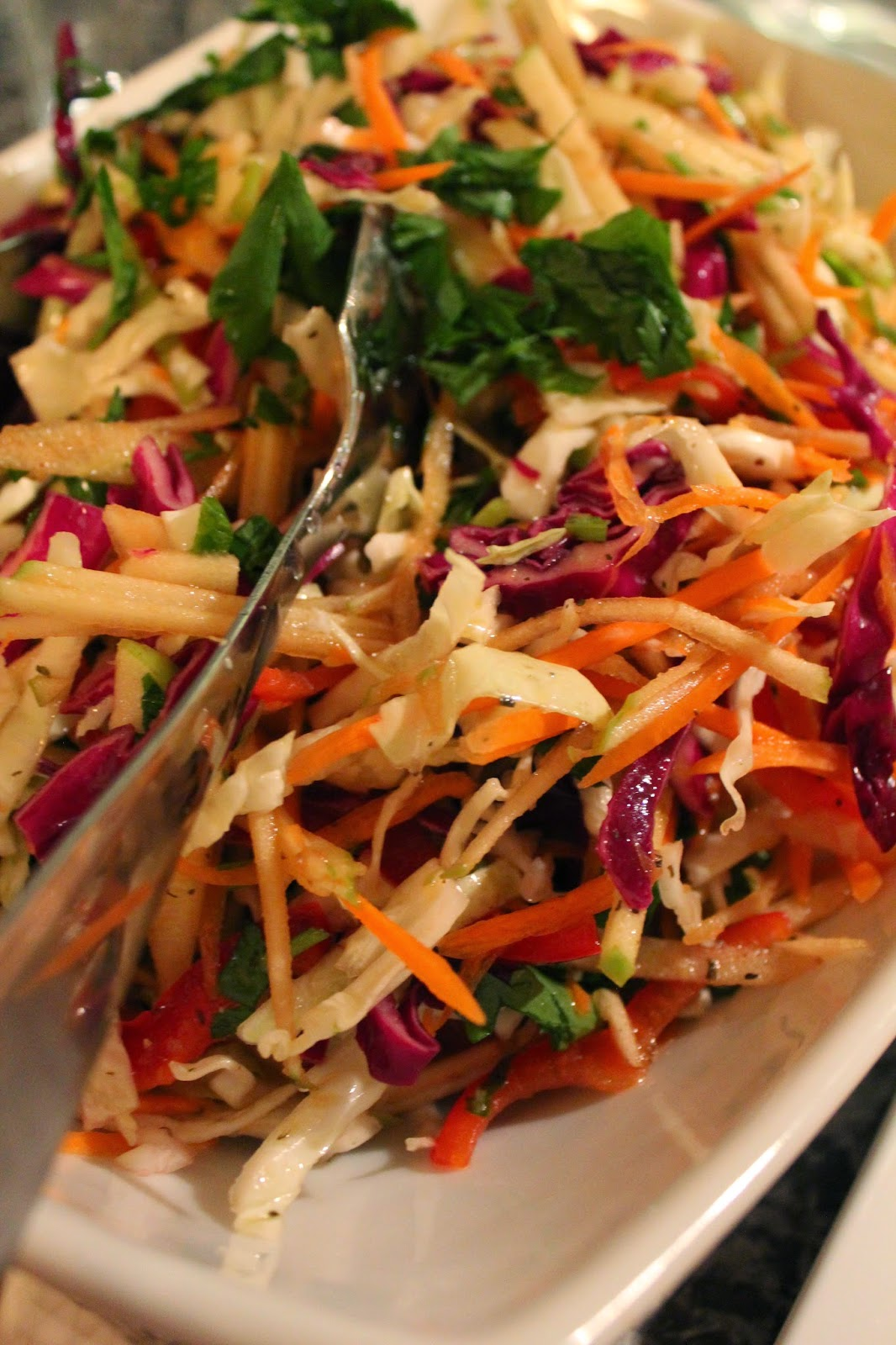 Colorful Cabbage and Apple Slaw