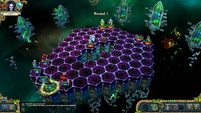 A battlefield from the game, showing the beginning of the battle with the elven guardian of light.