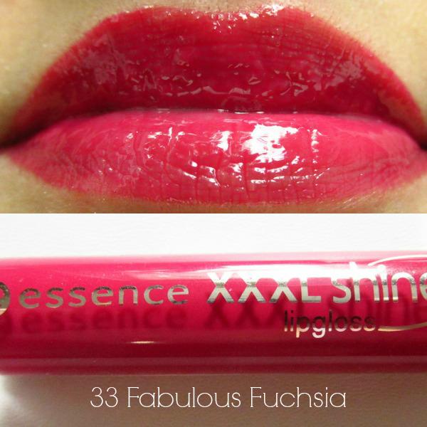 essence xxxl shine lipgloss fabulous fuchsia swatch