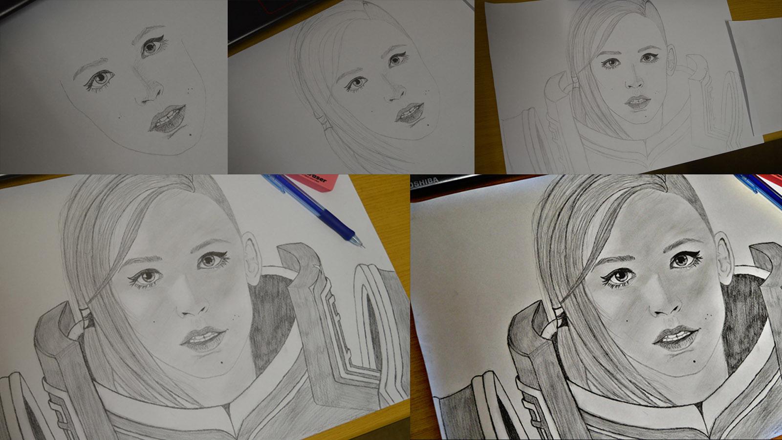 Drawing fan art of Johanna from Hots - combined