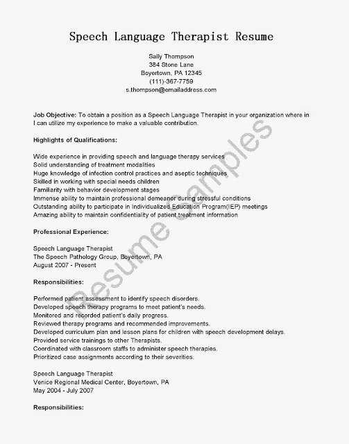 Resume Samples Speech Language Therapist Use This FREE Sample With Objective Skills Responsibilities To Write