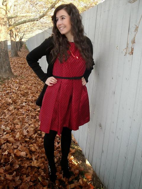 polka dot dress, fall wear, winter wear, heels, polka dot, fit and flare, dress, dressy, bow necklace, pretty, pretty dress,