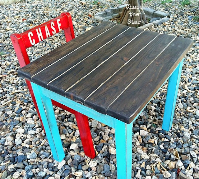 http://www.chasethestar.net, Preschool, Desk and Chair, Schooldesk, turquoise and red, craigslist