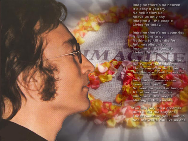 Foto John Lennnon+letra Imagine