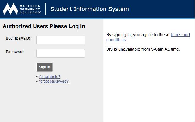 screen shot of SIS login page