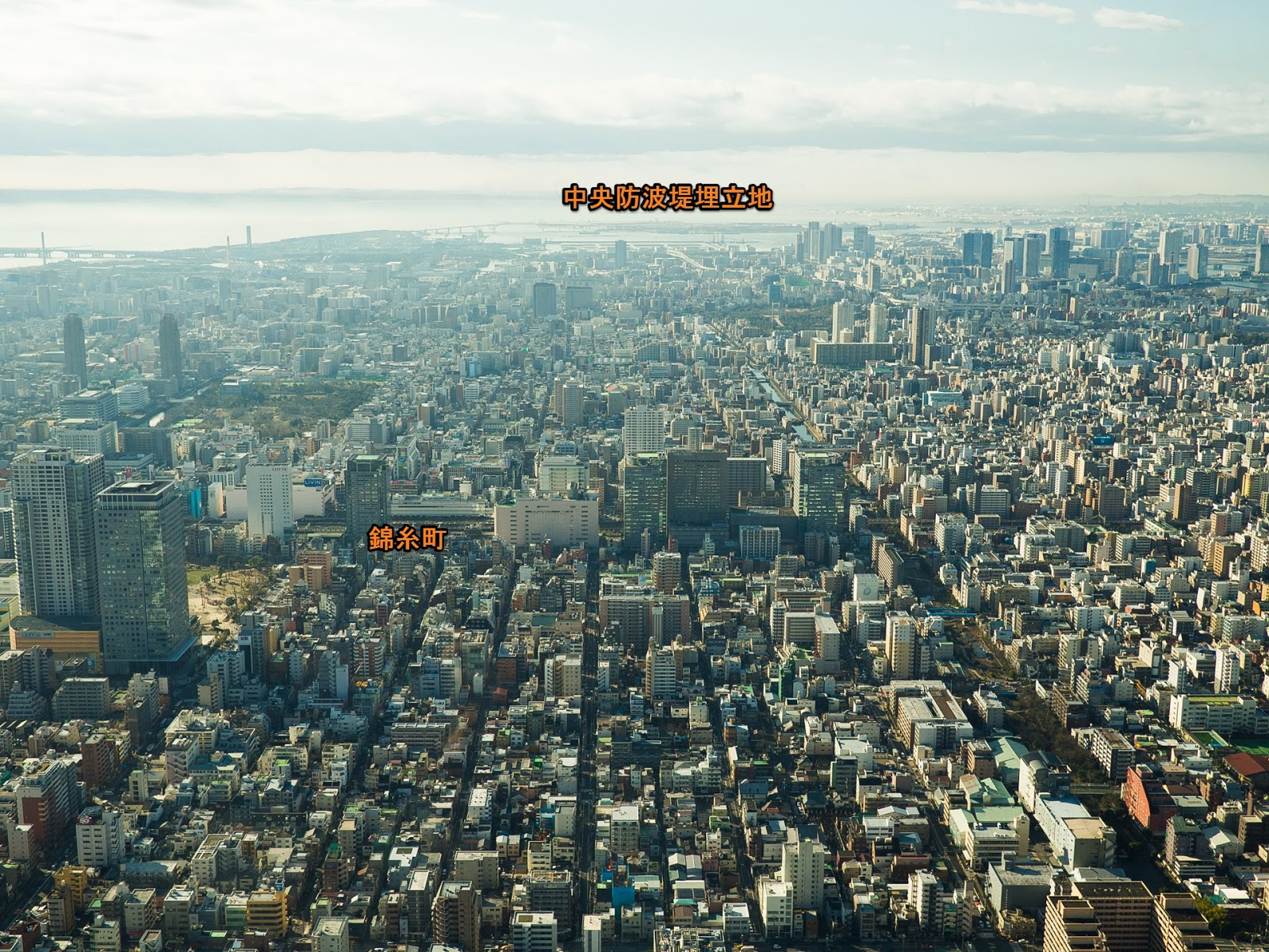 東京スカイツリー展望デッキから、南方面(深川方面)の風景