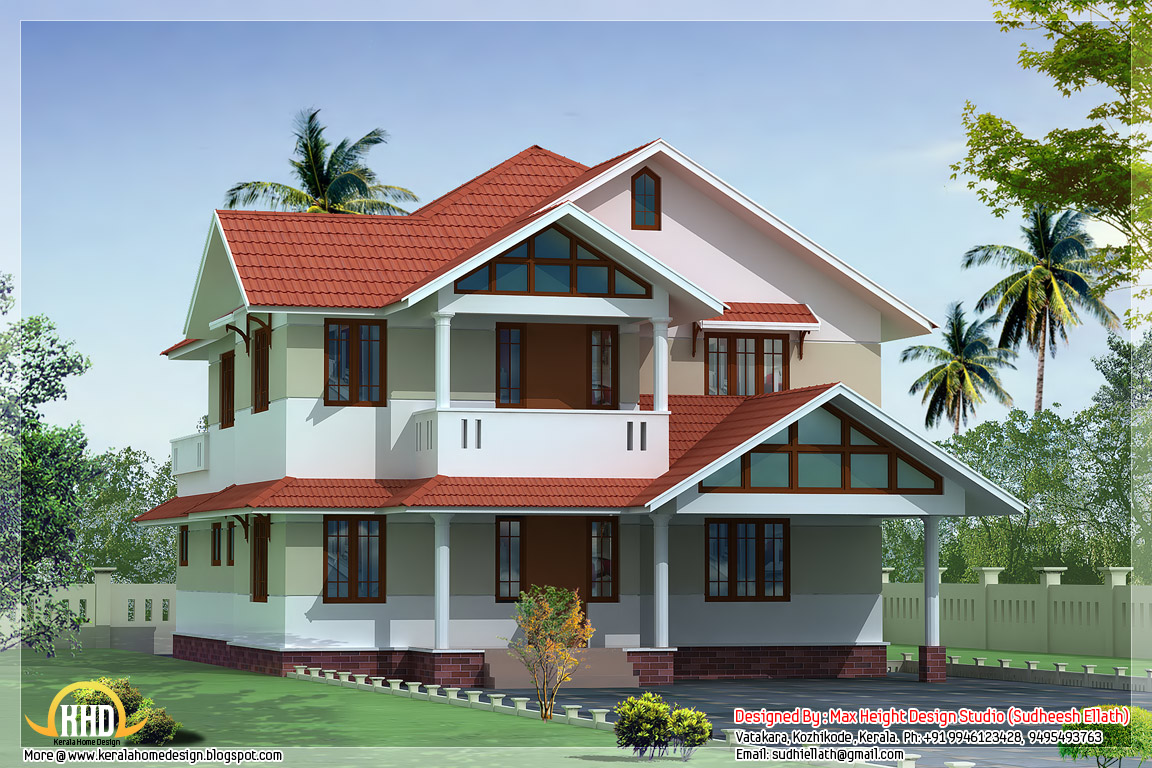 Kerala style beautiful 3d home designs kerala house Home plan 3d