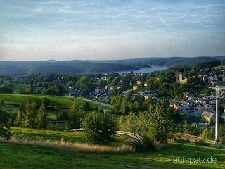 Blick auf Eibenstock, Drei Talsperren Marathon