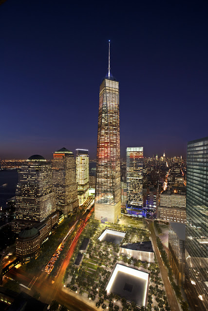 Photo of new one world trade center at night as seen from the hotel