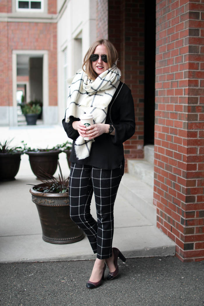 how to style blanket scarf, blanket scarf options, on the blog, boston blogger, window pane print, navy yard