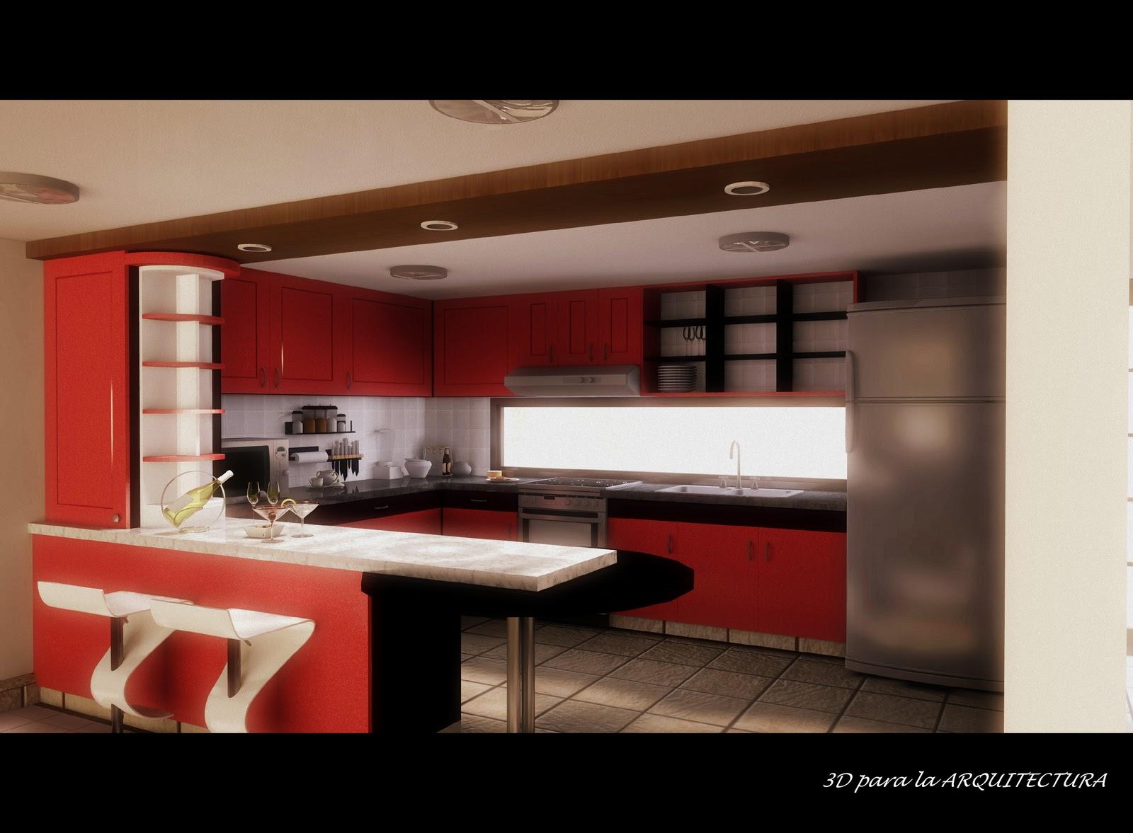 Cocina-comedor de diseño contemporáneo | 3D Render para la ...