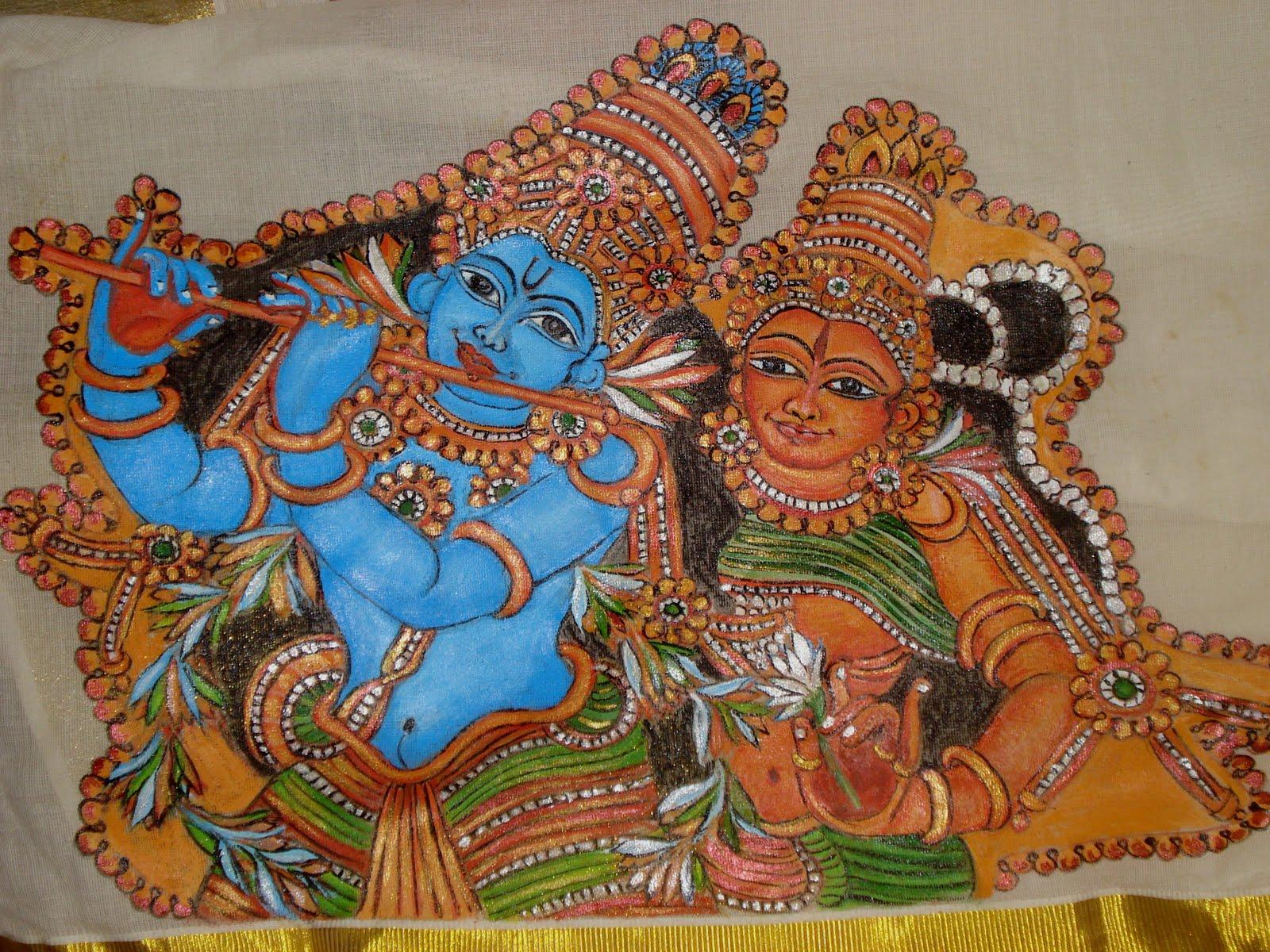Creative fingers mural saree painting for Creative mural art