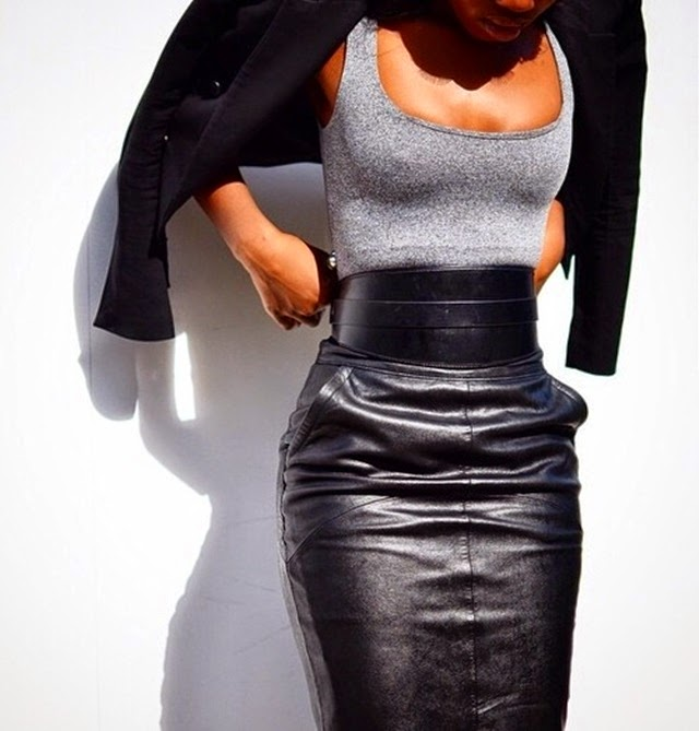 high waisted leather skirt - wide belt - fall fashion 2014