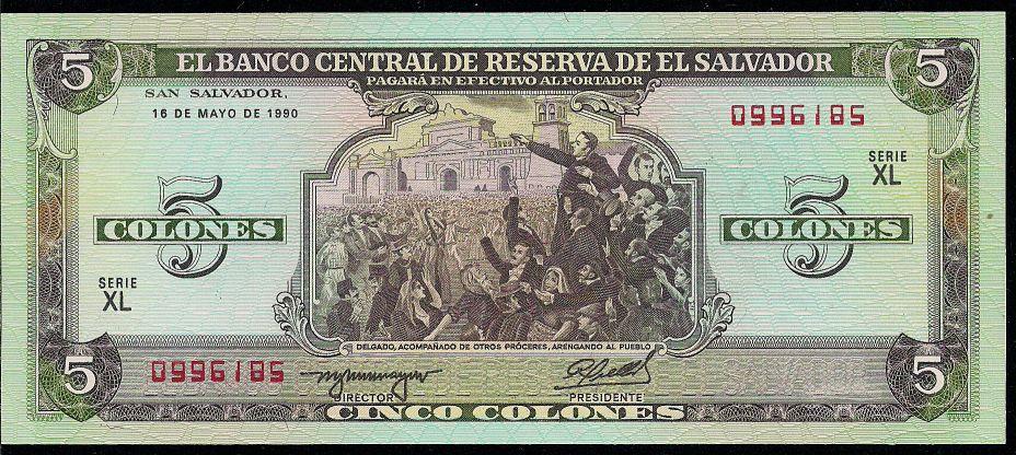 Dani's paper money collection: El Salvador P138 - 5 Colones 16.5.1990