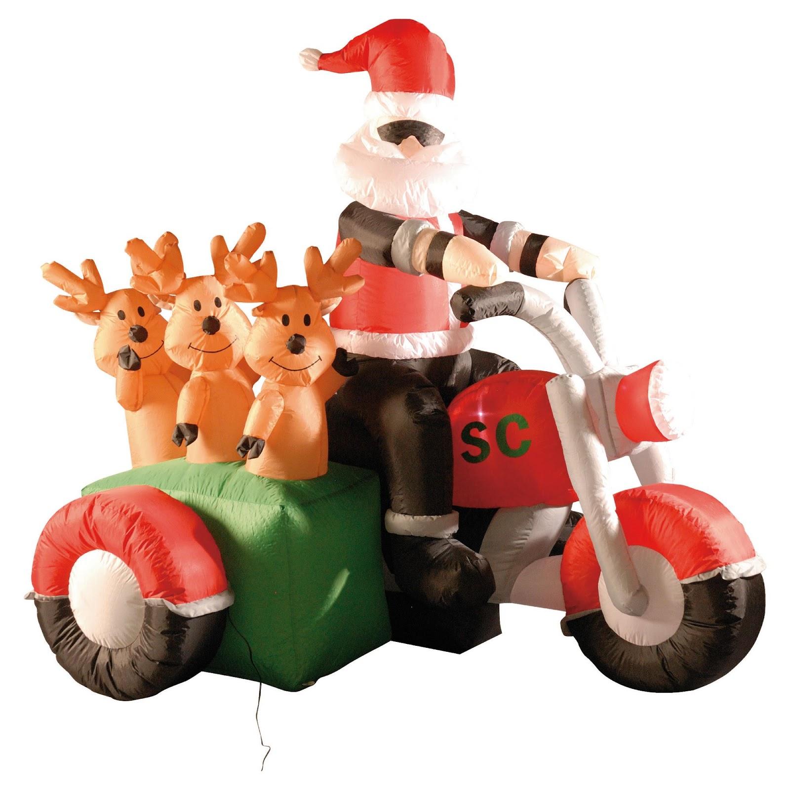 Moto n santa rides a motorcycle christmas decorations