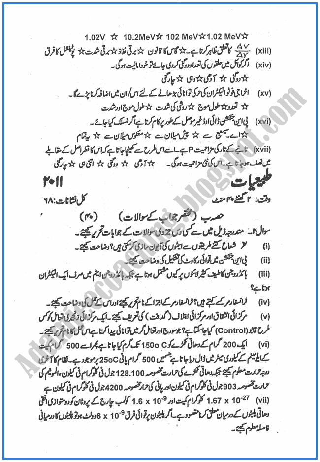 Physics-urdu-2011-past-year-paper-class-XII