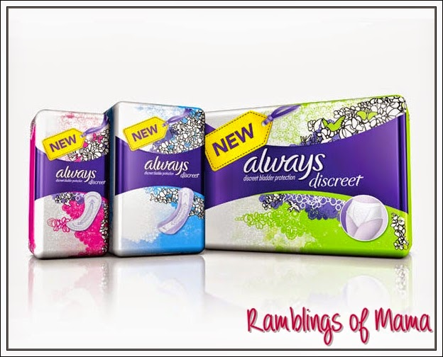 Always Discreet Liners, Pads and Underwear