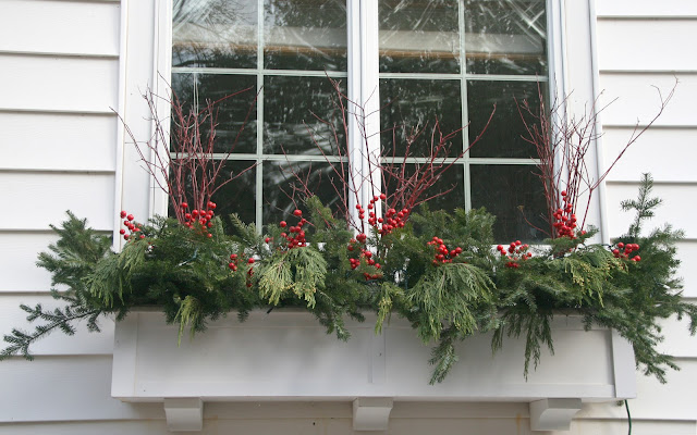 Evergreen boughs, dogwood and faux red berries -- The Impatient Gardener