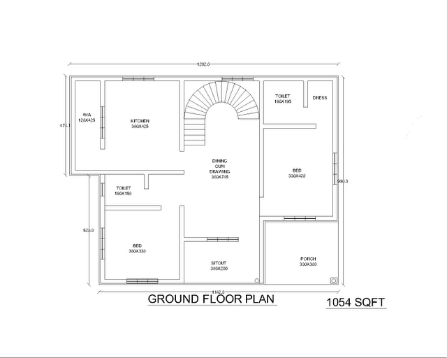 Two Low Cost 2bhk Independent Single Story House Plan 870