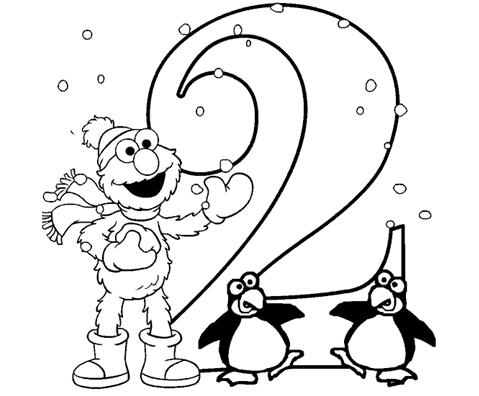 Coloring Pages for Kids: Number Two \