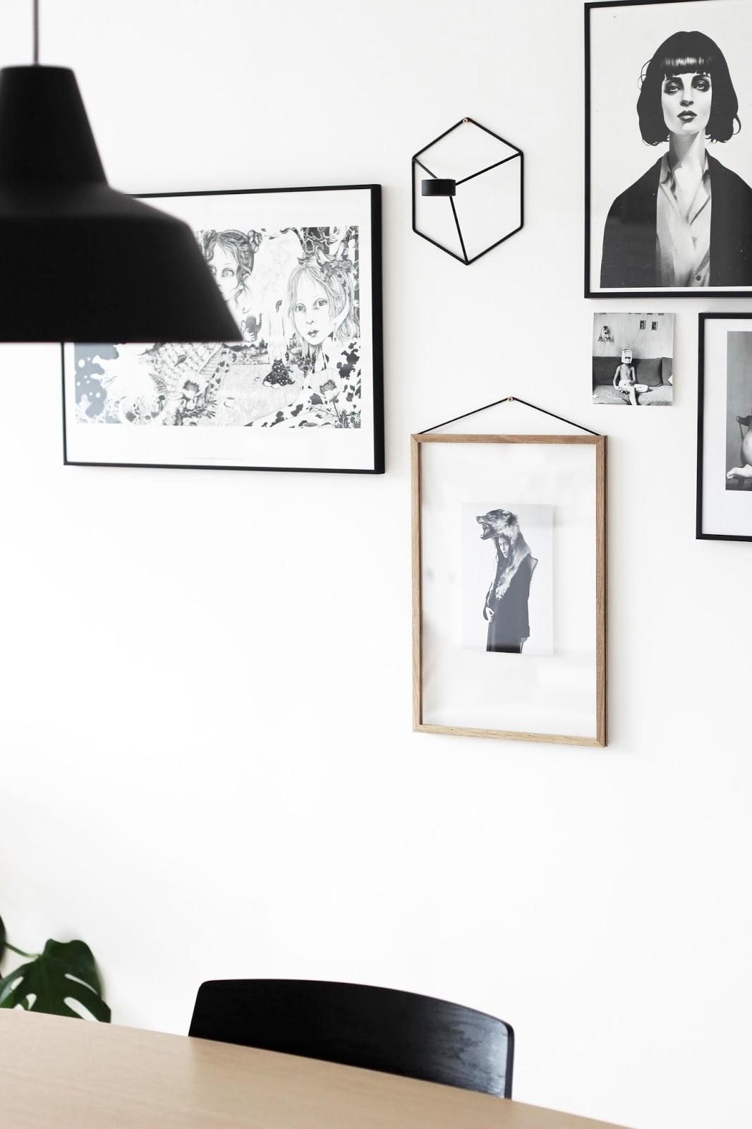 Scandinavian interior styling, string styling, gallery wall, monstera via http://www.scandinavianlovesong.com/