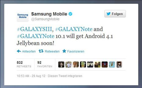 Samsung Galaxy S III, Samsung Galaxy Note, Samsung Galaxy Note 10.1 Android 4.1 Update