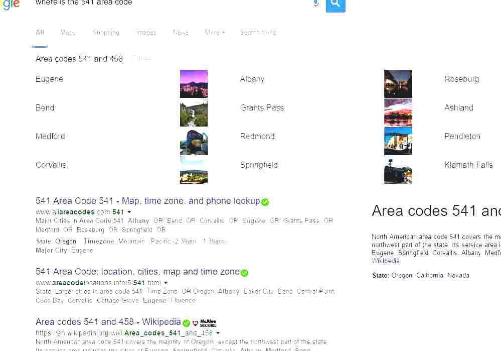 Area Codes 541 And 458 Medford Oregon Area Code