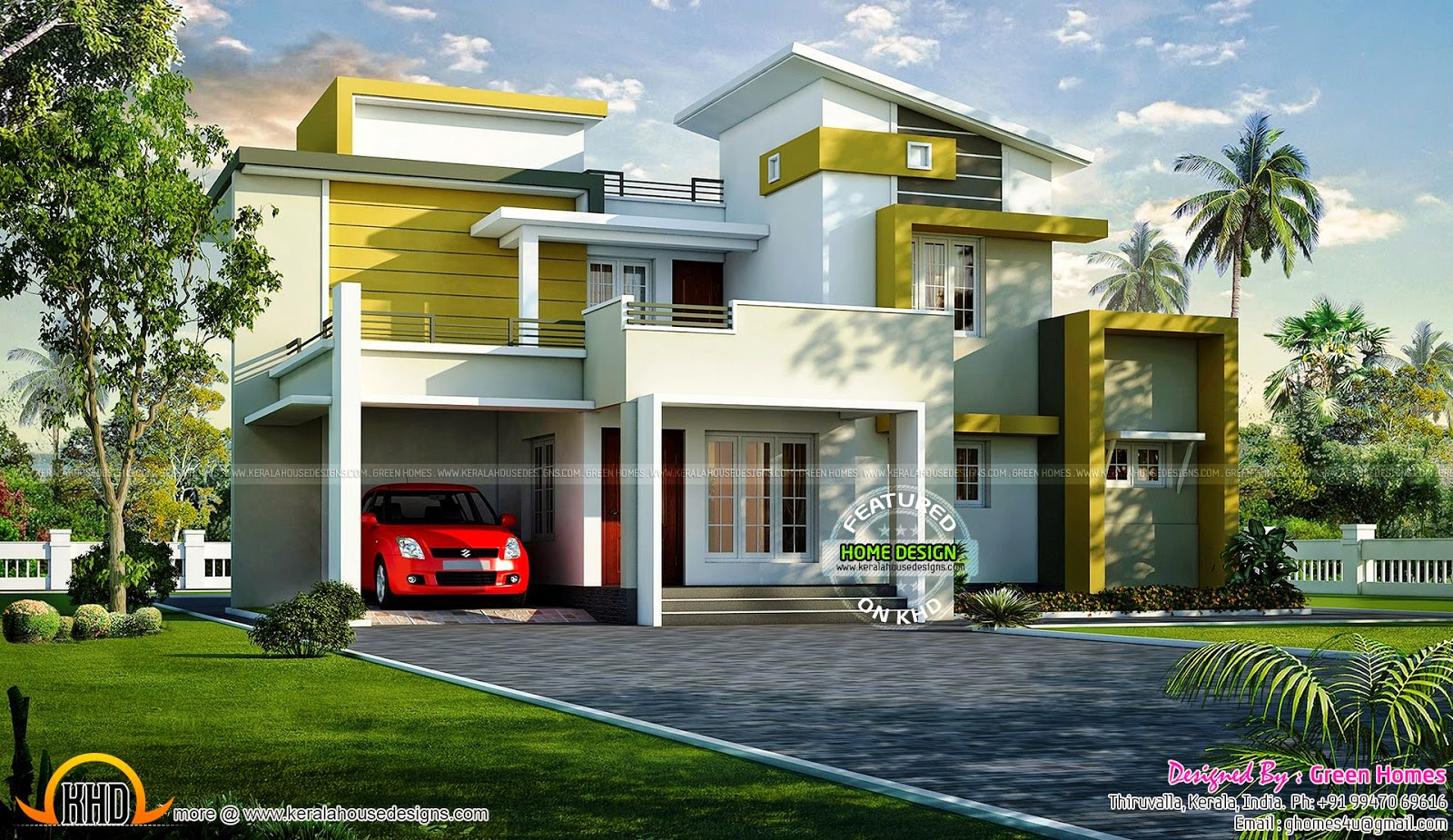 India bungalow exterior keralahousedesigns for 2 bedroom house designs in india