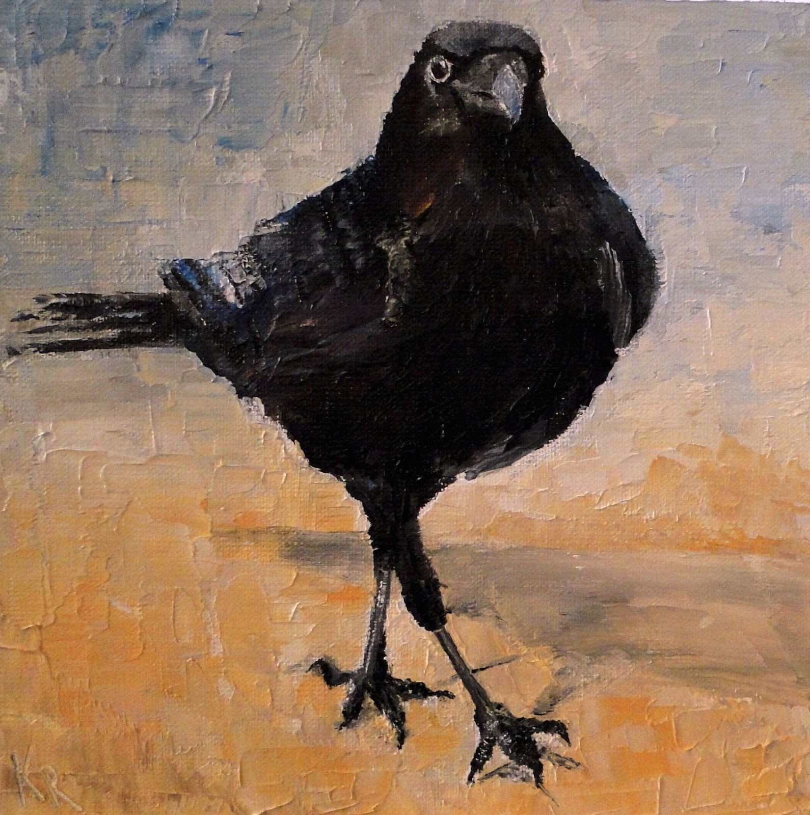 a palette knife, oil painting of a crow on a golden beach. A pet portrait by Karen